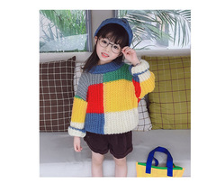 New winter children clothing fashion hit color grid jacquard long-sleeved loosen sweater for girls
