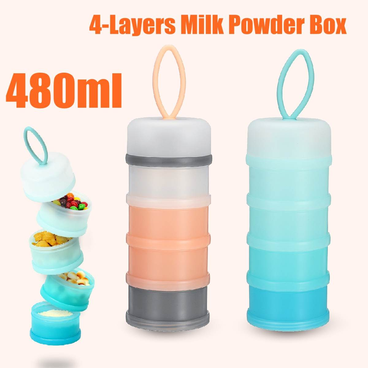 4 Layers Baby Tnfant Travel Milk Powder Dispenser Container Formula Feeding Box