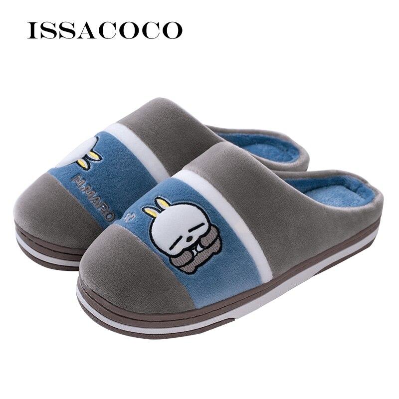 ISSACOCO New Winter Men Slippers Cartoon Cat Couple Indoor Shoes Home Pantufa Zapatos De Hombre