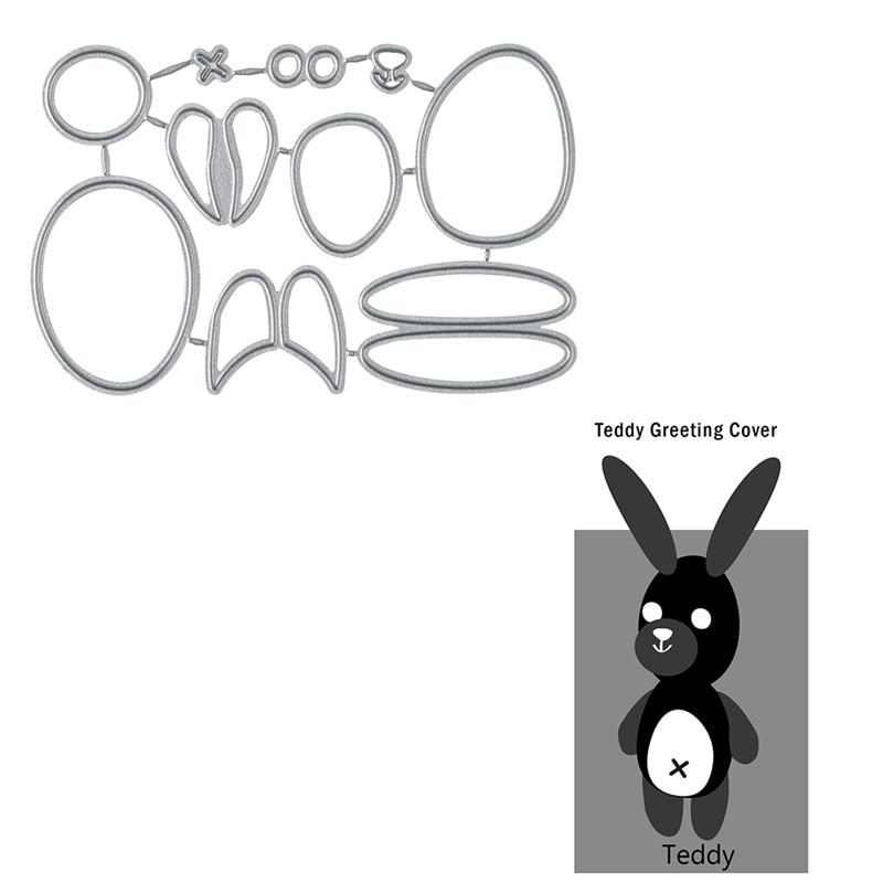 Naifumodo Teddy Greating Cover Metal Cutting Dies for Craft Scrapbooking Embossing Die Cut Stencil