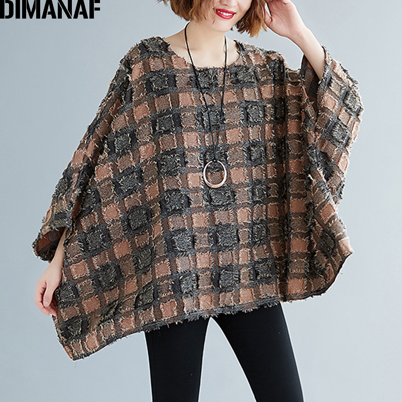 DIMANAF Plus Size Women Blouse Shirts Big Size Casual Tassel Patchwork Plaid Lady Tops Tunic Batwing Sleeve Loose Female Clothes