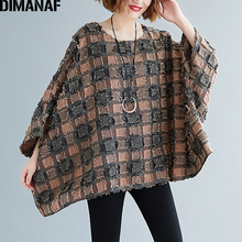 DIMANAF Plus Size Women Blouse Shirts Big Size Casual Tassel Patchwork Plaid Lady Tops Tunic Batwing Sleeve Loose Female Clothes цена и фото