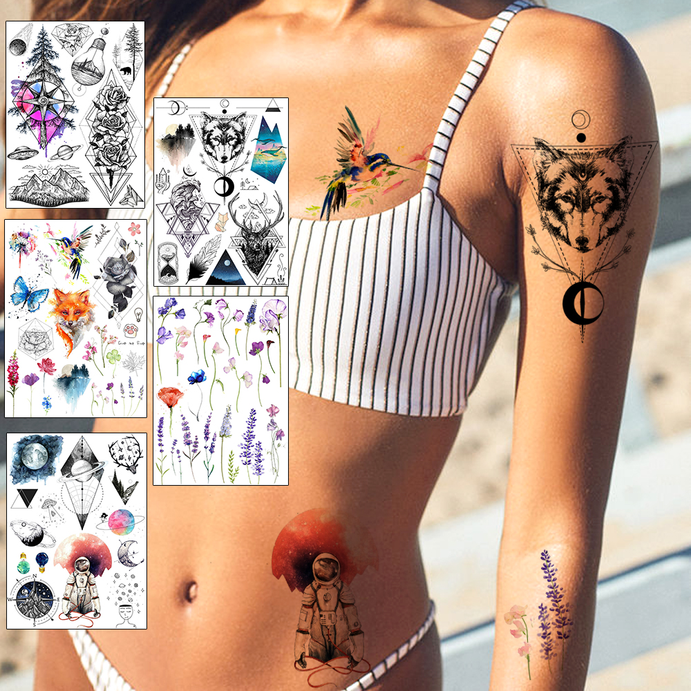 Realistic Planet Spaceman Temporary Tattoo Sticker Outer Space Waterproof Fake Wolf Flower Tattoo Lavender Tatoo Women Body Art(China)
