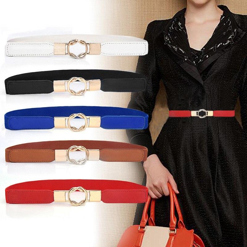 Dress Cummerbund For Women Fashion Retro All-match PU Leather High-elastic Thick Belt