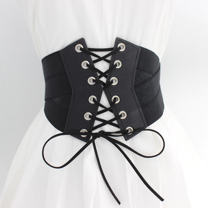 Women Cummerbund High-elastic Super Wide Strap Dress Zipper Buckle Bow-knot Fashion All-match Cummerbund