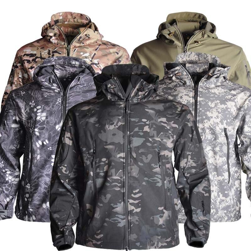 Men's Military Camouflage Fleece Jacket Shark Skin Soft Shell Military Tactical Jacket Multicam Male Camouflage 5XL windbreaker