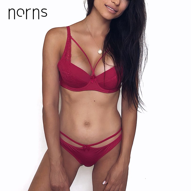 Norns Women's Sexy Underwear Set Lace Lingerie Set Push Up Plus Size Bra Set Of Linen Red Lingerie Bra And Panty Set Bralette