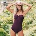 Cupshe sólido escuro roxo scalloped moldado copo maiô de uma peça sexy push up feminino monokini 2020 praia maiô