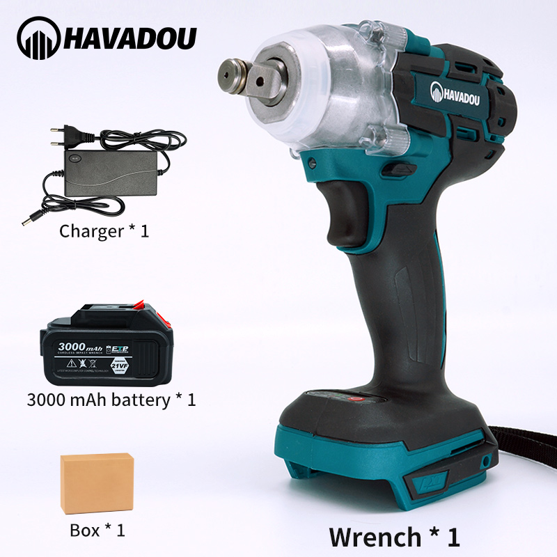 HAVADOU 21V Electric Impact Wrench  Brushless Wrench With Socket 3000mAh Li-ion Battery Drill Installation Power Tools