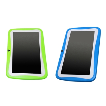 2 Pcs 7 Inch Kids Tablet Android Dual Camera Wifi Education Game Gift for Boys Girls, Eu Plug (Blue & Green)