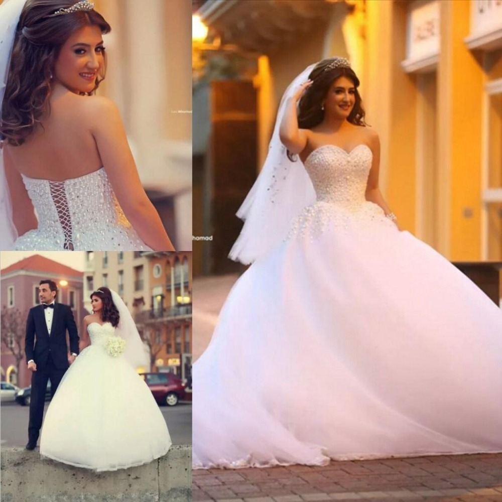 Said Mhamad Ball Gown Wedding Dresses 2016 Sweetheart Sleeveless Lace-up Sweep Train Beaded And Tulle 2016 Wedding Gown Dresses