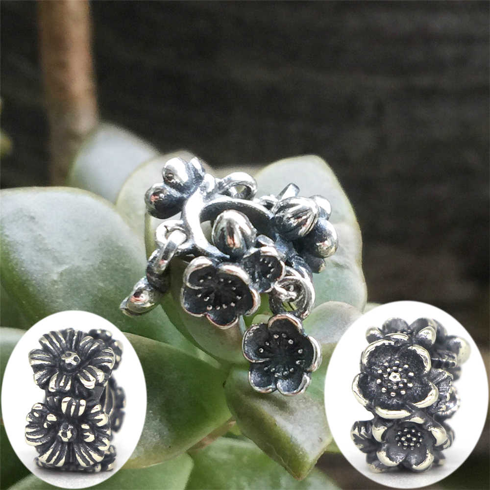 Vischio 925 Sterling Silver fiori di ciliegio Margherita Distanziatore Del Branello di Fascino Monili Europei