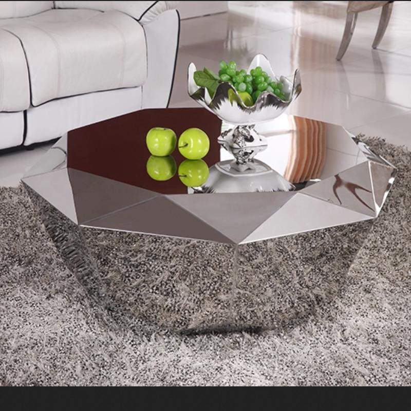 U-BEST Luxury Furniture Stainless Steel Diamond Shape Center Coffee Table ,Polygonal Metal Mirror Smooth Diamond Coffee Table