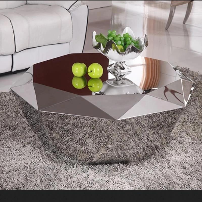 u best luxury furniture stainless steel diamond shape center coffee table polygonal metal mirror smooth diamond coffee table