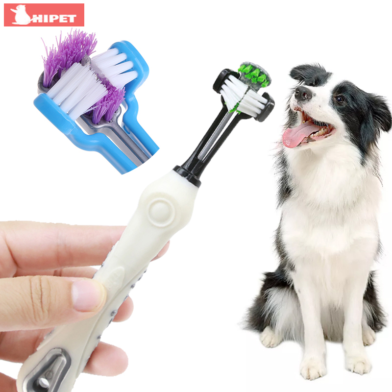 Three Sided Pet Toothbrush Dog Brush Addition Bad Breath Tartar Teeth Care Mouth Cleaning for Dogs Puppy Cats Dog Toothbrush image