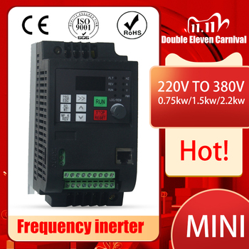 NEW item 1.5/ 2.2/4/5.5/7.5/11KW 220V in and 380V 3 phase out Variable Frequency Drive VFD Inverter for CNC router Spindle motor image