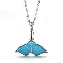 New Trendy Women Whale Necklace BlueTail Fish Nautical Choke