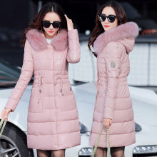 Women's leather jacket winter fox leather jacket Pink Leather Jacket Women's overcoat winter women's overcoat(China)