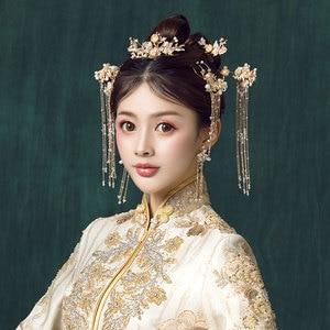 Image 3 - מסורתי סיני סיכת ראש זהב שיער קומבס כלה שיער אביזרי סרט מקל כיסוי ראש ראש תכשיטי כלה כיסוי ראש פין