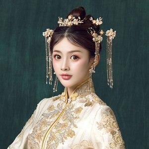 Image 3 - Geleneksel çin saç tokası altın saç Combs düğün saç aksesuarları kafa bandı sopa Headdress kafa takı gelin başlığı Pin