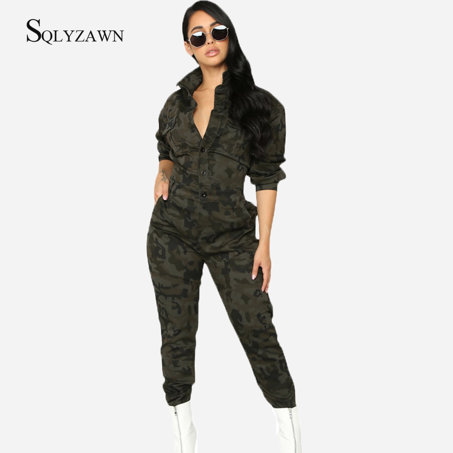 2019 Autum Women Camo Print Turn-Down Collar Long Sleeve Jumpsuit Streetwear Ladies Casual Femme Button Loose One Piece Overalls