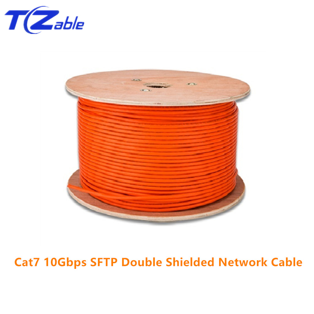 RJ45 Cat7 Ethernet Cable 10Gbps High Speed SFTP Double Shielded Pure Copper Engineering Network Cable AWG23 LSZH Supports FTTH