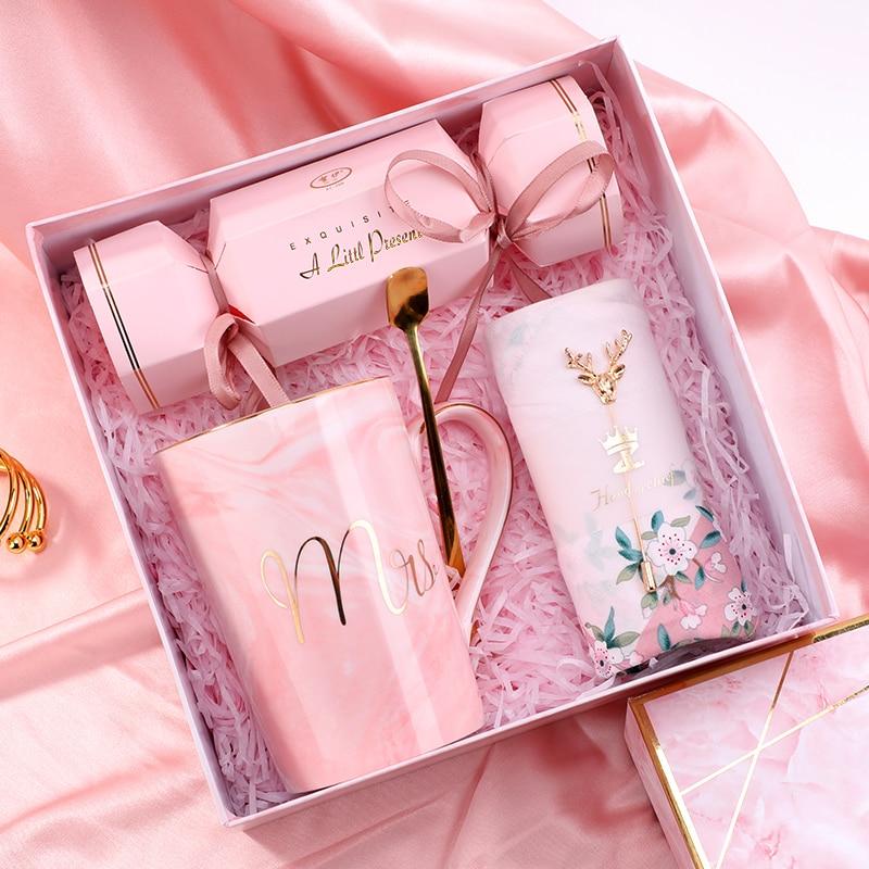 1set Ceramic Mr Mrs Couple Cup Set Valentine's Anniversary Birthday Gifts Wedding Bride Groom Groomsman Bridesmaid Gift