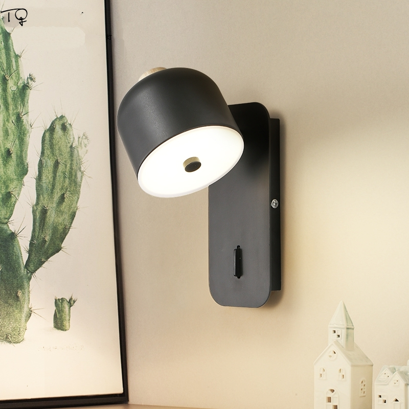 Nordic Personality Solid Wood Iron Art Led Wall Lamp Black White Simple Bedroom Bedside Living Room Background Staircase Balcony in LED Indoor Wall Lamps from Lights Lighting