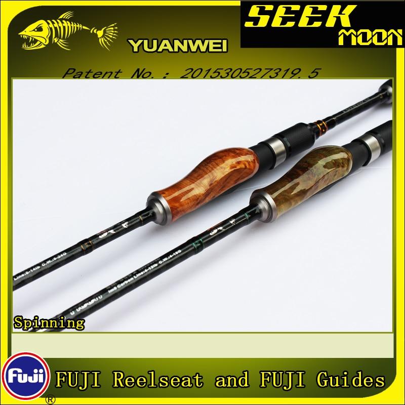 YUANWEI 1.98m 2.1m Spinning/Fundição Pesca Rod 2Sec ML/M/MH Raiz De Madeira Mão de Carbono vara isca Vara J233 Olta Super Qualidade - 5