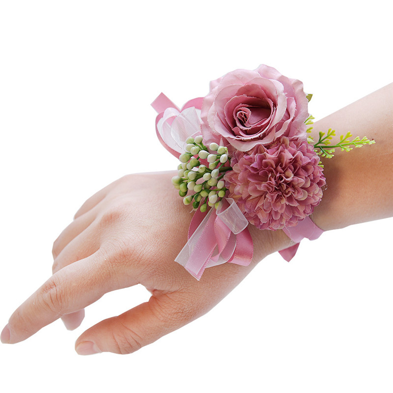 Wedding Wrist Flower Rose Silk Ribbon Bride Corsage Hand Decorative Wristband Bracelet Bridesmaid Curtain Band Clip Bouquet