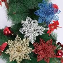 1 шт., 13,5 см, рождественские украшения, пластик, имитация, блестящий полый цветок, искусственные цветы, свадебные украшения для рождественской елки