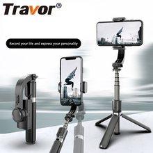 Travor handheld cardan estabilizador único eixo mão cardan smartphone estabilizador tripé selfie vara estabilizador para telphone ao vivo