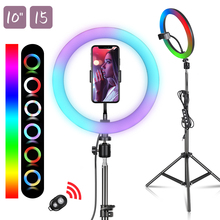 6/10/12Inch RGB LED Ring Light Selfie Ring Lamp 15 Colors 3 Model With Tripod Stand USB Plug For YouTube Live Makeup Photography
