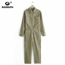 ROHOPO Women Army Green Long Sleeve Cotton Cargo Jumpsuit #9845