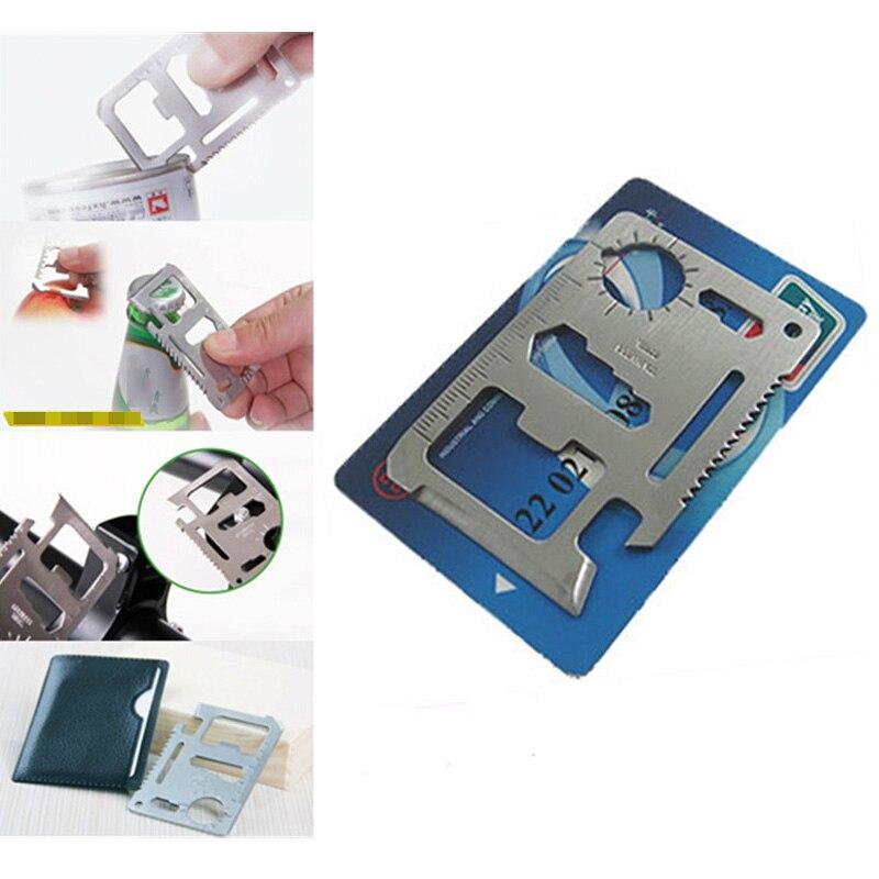 11-in-1 EDC Multi-tool Card Multifunctional 420 Stainless Steel Pocket Jar Bottle Opener Screwdriver Spanner Ruler Outdoor Tools