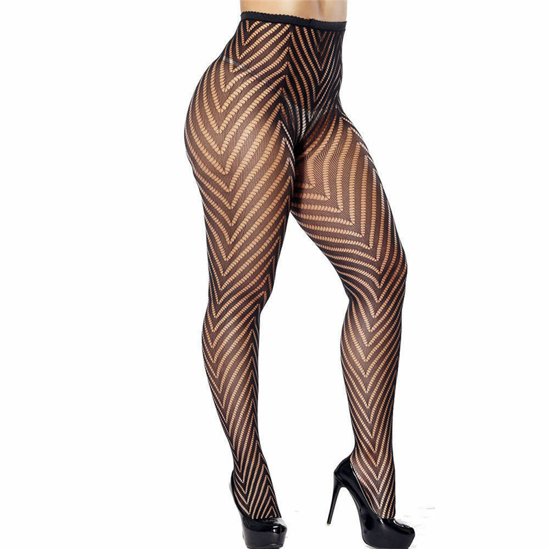 Pantyhose Tights Women Fashion Fishnet Stockings Sexy Black Lace Sheer Floral Star Pattern High Waist Tights Plus Size
