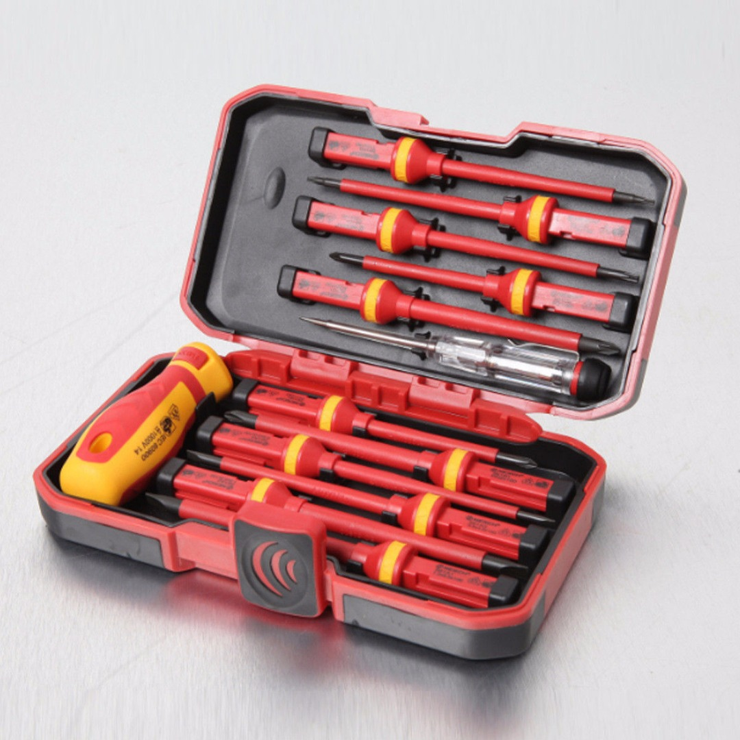 13pcs Pro Electricians Insulated Electrical Hand Screwdriver Kit for 1000V Power