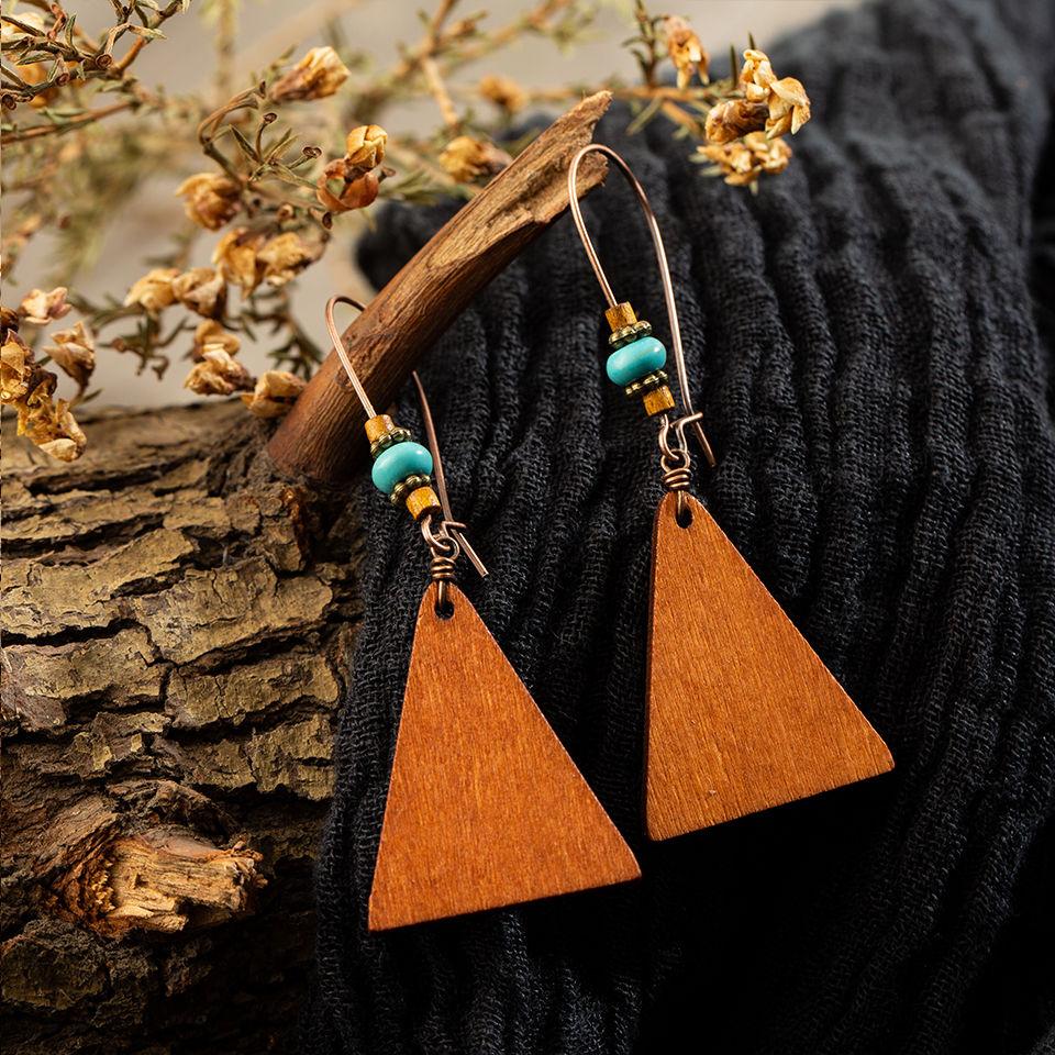 Ethnic Boho Bohemian Vintage Multiple Types Wooden Dangle Hanging Earrings For Women Female's Drop Ear Ornament Wedding Jewelry