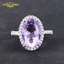 Jewepisode Classic Oval Amethyst Diamond Rings for Women 925 Sterling Silver Wedding Engagement Ring Drop Shipping Fine Jewelry(China)