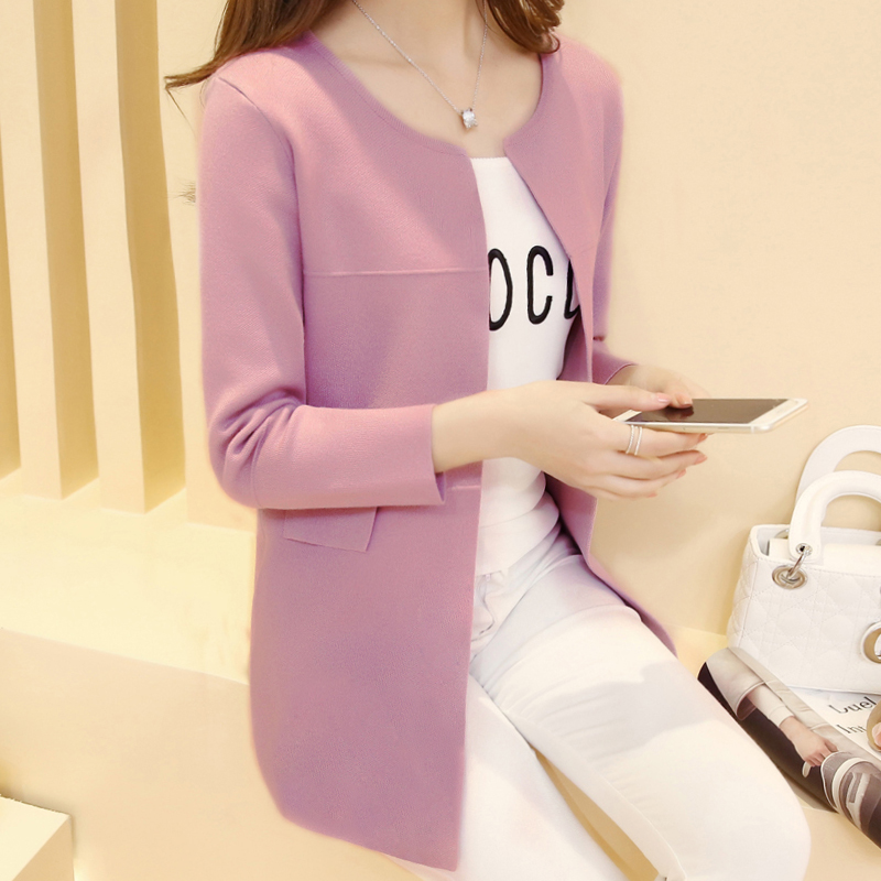 Cardigan Feminino Jacket Spring And Autumn Dress New Korean Version Of Mid-long Loose Student Knitted Cardigan Women's In 2019