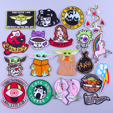 Pulaqi Rainbow Unicorn Patches Baby Yoda For Clothing Iron On Clothes Stripes Cartoon Cat DIY Hippie Badges