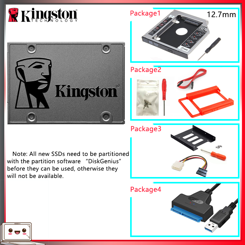 Original Kingston SSD жесткий диск 120 gb 240 gb 480 gb 960 gb SATS 3 HDD 2.5 inch Disco Duro ssd with Hdd Caddy/Adapter For PC