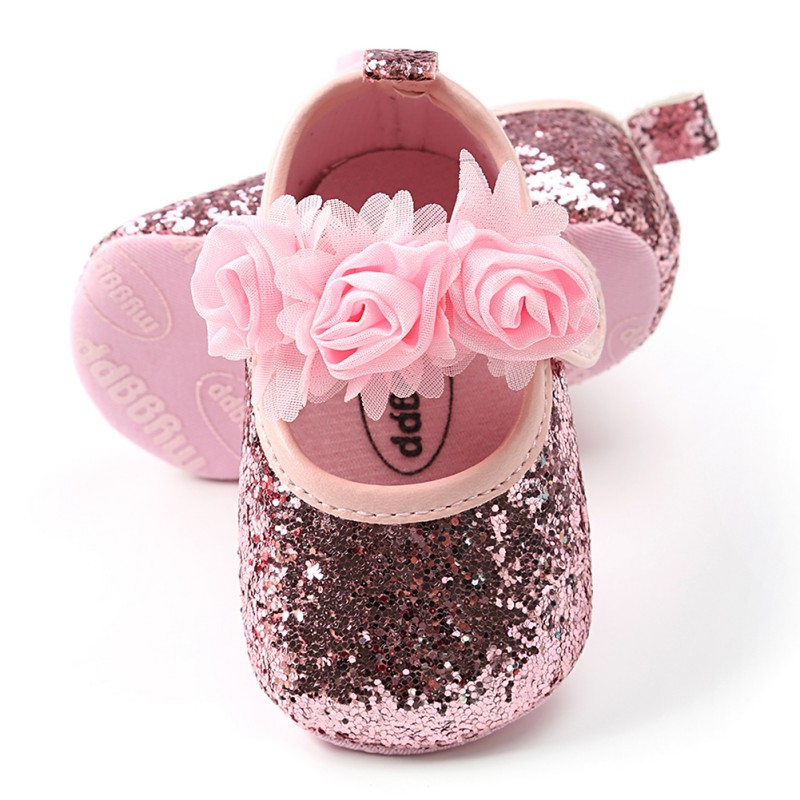 Summer Baby Girls Princess Shoes Newborn Baby Shoes Sequins Infant Soft Sole First Walkers Flower Soft Sole Toddler Shoes