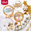 Gold Elk Snowflake Merry Christmas Cake Topper Party Acrylic 3d Xmas Trees Decoration for Baking Supplies Baby Shower Love Gifts