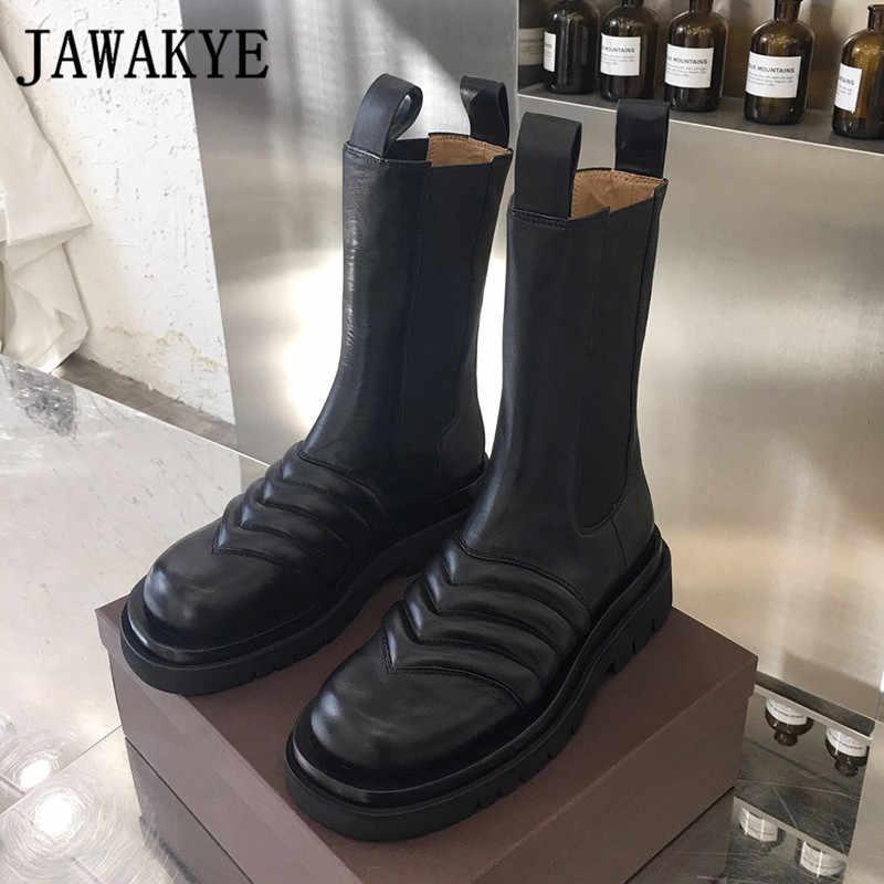 Neue Well Runde kappe Dicken boden stiefeletten für frauen braun schwarz welle Leder Runway Schuhe flache Motorrad Martin stiefel
