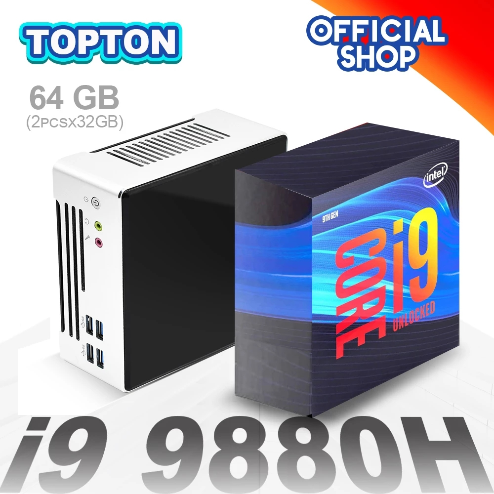 Topton NEW 10th Gen Intel Mini PC Core i9 10880H 9880H 2*Lans 2*DDR4 64GB 2*M.2 NVMe SSD Desktop Computer Nuc Windows 10 Linux