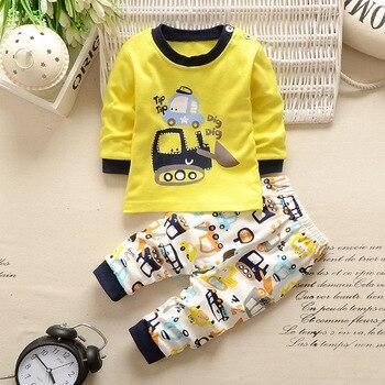 Autumn Winter 2021 Baby Boy Girls Clothes Cotton Girl Clothing Sets Cartoon Long-Sleeved T-Shirt+Pants Infant Clothes 2pcs Suit 2