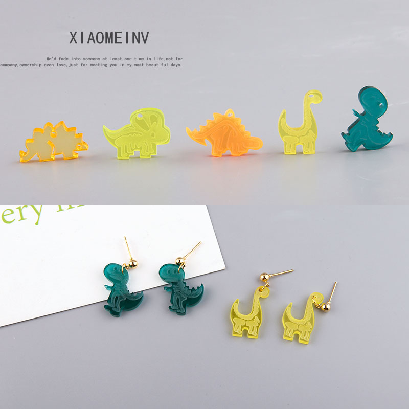 2pcs diy handmade accessories fun acrylic small dinosaur three-dimensional earrings bag materials