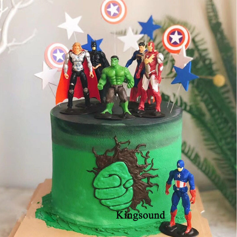 Tremendous Superheroes Birthday Cake Topper Cupcake Dolls The Avengers Action Personalised Birthday Cards Veneteletsinfo