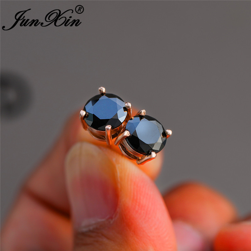 Simple Mens Black Stone Round Stud Earrings White Gold Rose Gold Color Female Male Double Wedding Earrings For Women Men Jewelry
